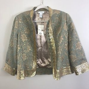 Soft Surroundings Gold Sequined Ottoman Jacket 8